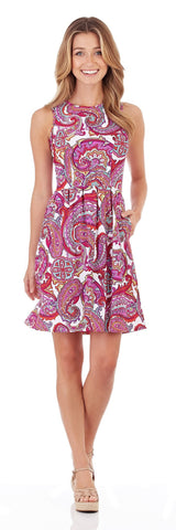 Rachel Fit and Flare Dress in Paradise Paisley Fuchsia