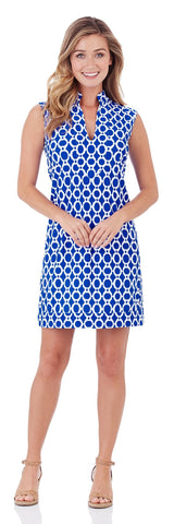 Kristen Tunic Dress in Circle Ikat Blue