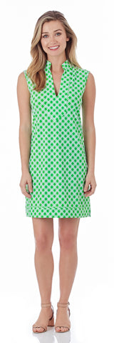 Kristen Tunic Dress in Linked Lattice Grass