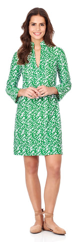 Kate Tunic Dress in Abstract Spots Jungle Green