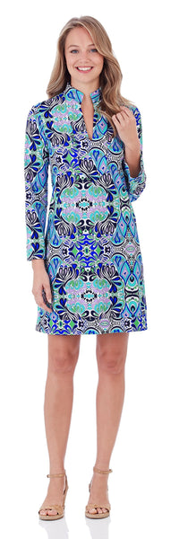 Kate Tunic Dress in Mod Mosaic Blue