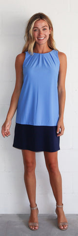 Pamela Dress <br>Jude Cloth - Periwinkle/Navy
