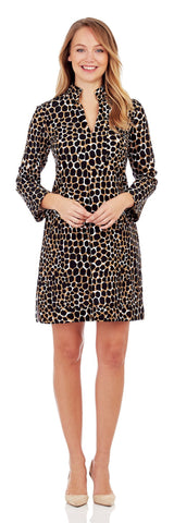 Kate Tunic Dress in Spotted Giraffe Black - Jude Connally - 1