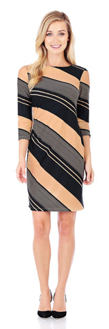 Maxine Ruched Dress in Blocked Stripe Buff - Jude Connally - 1