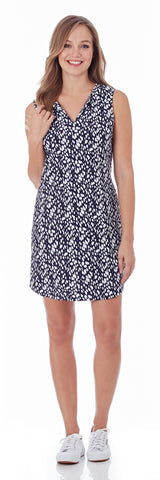 Alison Sporty Shift Dress in Abstract Spots Navy for Women