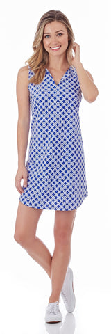 Alison Shift Dress in Linked Lattice Sapphire - FINAL SALE