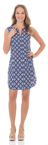 Alison Shift Dress in Nautical Rope Navy