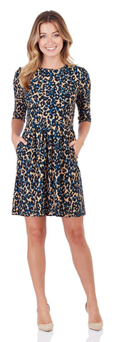 Women's Brynn Fit & Flare Dress in Cheetah Spot Black with a Jewel Neckline, Elbow Sleeves & Side Pockets