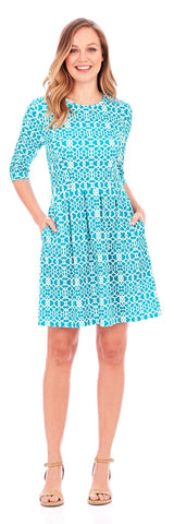 Brynn Fit & Flare Dress in Lattice Geo Turquoise - Jude Connally - 1