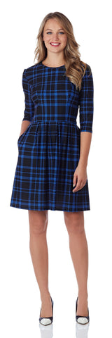 Brynn Fit & Flare Dress in Plaid Blue/Black