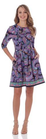 Brynn Fit & Flare Dress in Paisley Border Navy - FINAL SALE