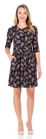 Brynn Fit & Flare Dress in Scattered Foulard Black - Jude Connally - 1