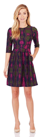 Brynn Fit & Flare Dress in Snakeskin Mulberry - Jude Connally - 1