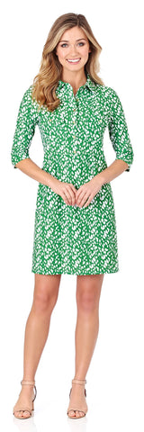 Sloane Shirt Dress in Abstract Spots Jungle Green