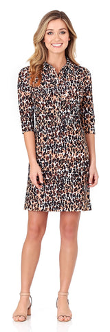 Sloane Shirt Dress in Cheetah Black