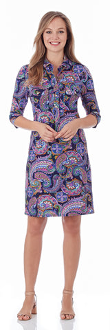 Sloane Shirt Dress in Paisley Border Navy - FINAL SALE