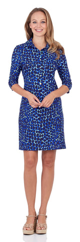 Sloane Shirt Dress in Spotted Giraffe Navy