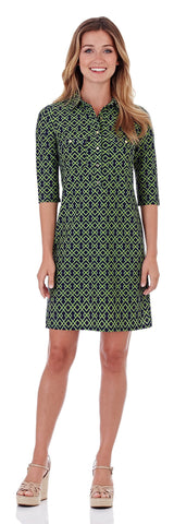 Sloane Shirt Dress in Trellis Trio Navy