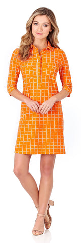 Sloane Shirt Dress in Windowpane Paprika