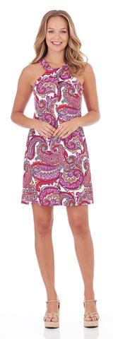 Sienna Twist Front Dress in Paradise Paisley Fuchsia