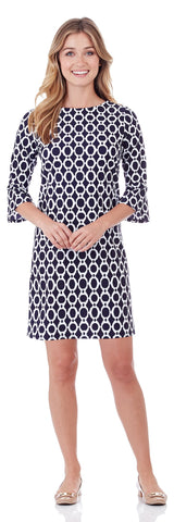 Margot Shift Dress in Circle Ikat Navy