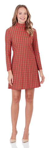 Adriana Turtleneck Dress in Crossed Links Red - FINAL SALE