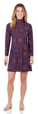 Adriana Turtleneck Dress in Timeless Paisley Navy - FINAL SALE