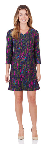 Lexi Shift Dress in Feathered Abstract Navy