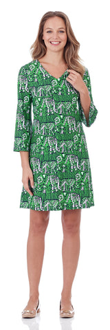 Lexi Shift Dress in Lucky Elephants Green