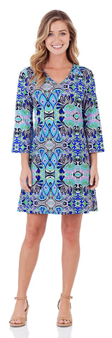 Lexi Shift Dress in Mod Mosaic Blue