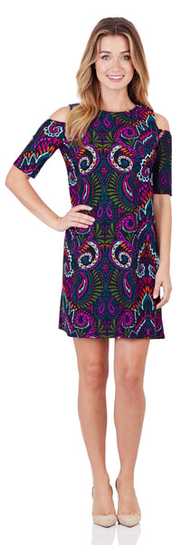 Natalie Cold-Shoulder Dress in Wild Paisley Navy - FINAL SALE