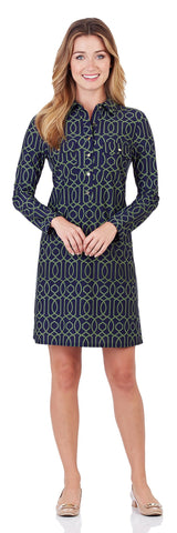 Gracie Shirt Dress in Garden Gate Navy