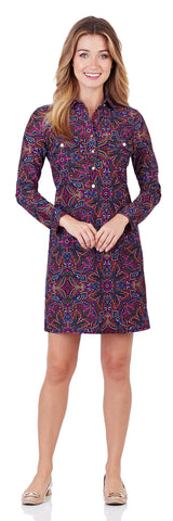 Gracie Shirt Dress in Timeless Paisley Navy