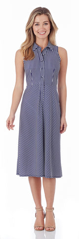 Ashlyn Midi Shirt Dress in Nantucket Stripe Navy - FINAL SALE