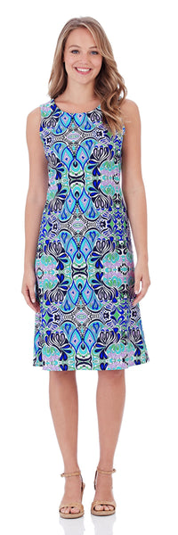Beth Shift Dress in Mod Mosaic Blue - LONG