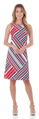 Bethany Shift Dress in Patchwork Stripe Red