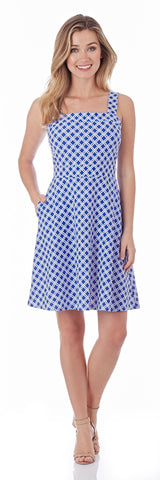 Kaia Fit & Flare Dress in Linked Lattice Sapphire - FINAL SALE