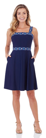 Kaia Fit & Flare Dress in Navy