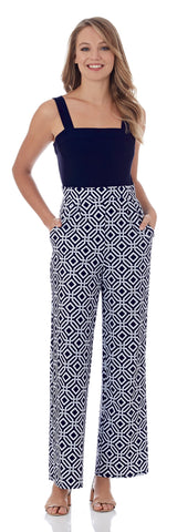 Tracy Wide Leg Jumpsuit in Grand Links Navy - FINAL SALE