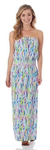 Bria Strapless Maxi Dress in Mod Watercolor Multi - FINAL SALE