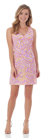 Naomi Dress in Geo Maze Peach - FINAL SALE