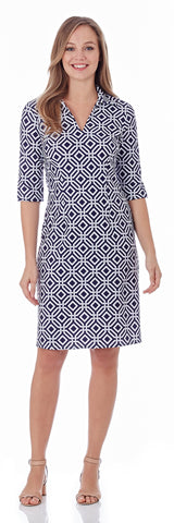 Michelle Dress in Grand Links Navy - LONG