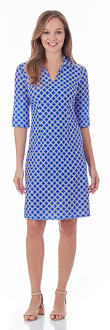Michelle Dress in Linked Lattice Sapphire - LONG