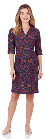 Michelle Dress in Timeless Paisley Navy - LONG - FINAL SALE