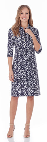 Sloane Shirt Dress in Abstract Spots Navy - LONG