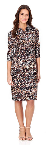 Sloane Shirt Dress in Cheetah Black - LONG