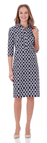 Sloane Shirt Dress in Circle Ikat Navy - LONG
