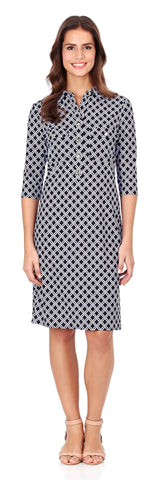 Sloane Shirt Dress in Linked Lattice Black - LONG