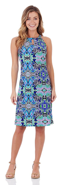 Lisa Keyhole Dress in Mod Mosaic Blue - LONG
