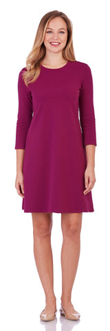 Aubree Ponte Swing Dress in Magenta - Jude Connally - 1